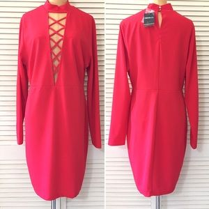 🆕 Forever 21 Dress Size 1X Red Long Sleeve NWT